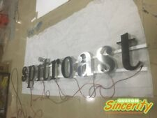 customized lighted brushed stainless steel led backlit sign letters outdoors