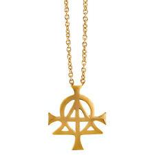 14K gold Alpha Omega Christian Christogram Christ's monogram Pendant Replica
