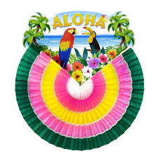 XL ALOHA PAPIERFÄCHER Hawaii Südsee Karibik Papageien Hula Party Fest Deko 95791