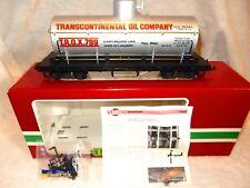 LGB #4080-Y02 Transcontinental Oil Co. Silver single dome tank car G gauge & box