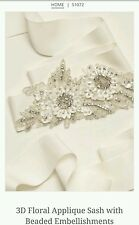 David's Bridal Floral Applique Sash w/ Beaded Embellishmnts, S1072, Ivory ($140)