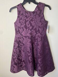 Pippa & Julie Girls Burgundy Wine Party Dress Size 14