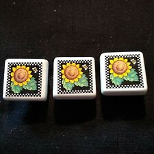 New ListingMary Engelbreit - Ceramic Drawer Knobs - Sunflower with Bee