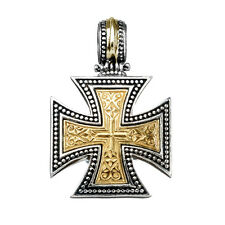 Gerochristo 5314 ~ Solid Gold & Sterling Silver Medieval Maltese Cross Pendant
