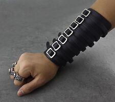 Cool Steampunk Biker Men Womens Leather Wristband Cuff Fingerless Gloves