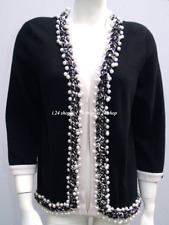 CHANEL 10P  NEW $5.5K BLACK LESAGE PEARL CASHMERE CARDIGAN JACKET 46 NEW