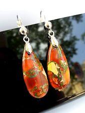 Boucles d'Oreilles Jaspe Orange Impérial Sédimentaire Bijoux en Pierre Naturel