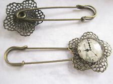 Brosche Sicherheitsnadel Glasstein Metall bronze Unikat Kiltnadel Hutnadel Uhr