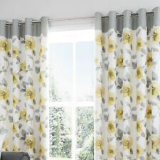 Eyelet Readymade Lined Curtains Contemporary Ochre Floral