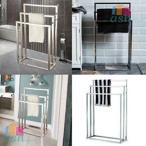 3 Tier Towel Holder Chrome Colour Floor Standing Bathroom Storage Rack Hanger UK
