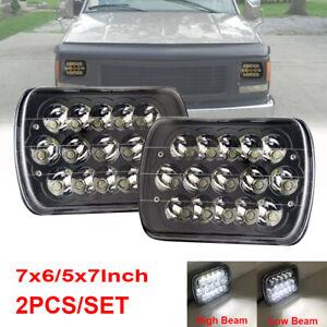 "Pair 7x6"" LED Headlights Hi/Lo Beam Black For Ford GMC C2500 Suburban 1997-1999"
