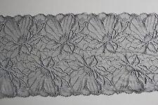 Wäschespitze, elastisch, silber, Breite: ca. 20 cm, Material: 95 % PA / 5 % EA