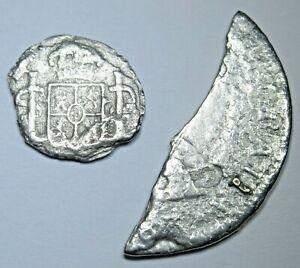 1700s El Cazador Shipwreck Spanish Silver 1/2 Reales Genuine Antique Pirate Coin