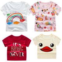 Cute Children Kids Baby Girls Boys Cartoon Print T-shirt Summer Tops Clothes New