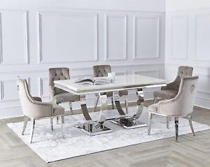 NICHES Arianna Dinning Table Marble Top Grey & Cream Chrome Frame 1.6m / 1.8m