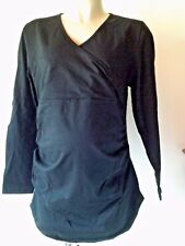 BLACK MATERNITY & NURSING  WRAP EFFECT LONG SLEEVE RUCHED TOP SIZE 20 NEW