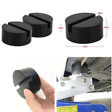 2 Pcs Black DIY Car SUV Slotted Frame Rail Hydraulic Floor Jack Disk Rubber Pad