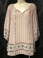 Pleione Women's Sheer Top Pink Beige Size Large Long Sleeve Blouse