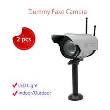2x Fake Dummy CCTV Surveillance Camera Solar LEDs Flashlight CCD +2 Antennas