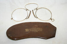 Antique Vintage Gold Pince-Nez Pinch Nose Spectacles Eyeglasses & Leather Case