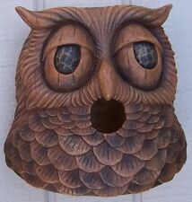 Bird House Woodsman Horned Owl NEW wall fence or tree mount polyresin rustic