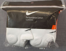 NIKE Logo (6) PACK Men White Performance Cotton Cushioned No Show Socks NWT 8-12