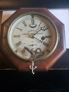 ANTIQUE Octagonal Wall Clock Lever Escapement LATE 1800S With ORIGINAL Key