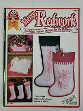 Merry Redwork Nostalgic Designs for Christmas Iron on Transfer Book   McNeill