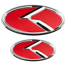 2 LARGE CHROME RED KIA K EMBLEMS BADGES FOR FRONT GRILL HOOD TRUNK