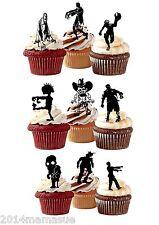 20 X Precortada Halloween Zombie De Pie Comestibles 3d Cupcake Oblea Arroz Tarjeta Toppers
