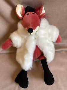 Adorable! Jellycat Plush Pink Fox in White Fur Coat