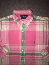 VTG Mens RALPH LAUREN POLO Pink & Green Plaid Flannel Shirt Pony Logo sz XL
