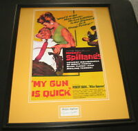 Mickey Spillane Signed Framed 16x20 My Gun is Quick Poster Display