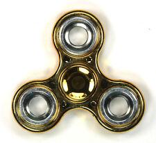Chrome Metallic Gold/Silver - Tri FIDGET Spinner Ceramic Hand SPINNER Desk Toy