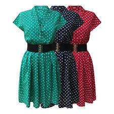 Retro Vintage 1940's Shirt Dress With Black Elasticated Cinch Belt New 8 - 28
