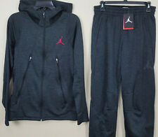 NIKE JORDAN FLIGHT THERMA-FIT SUIT HOODIE + PANTS BLACK RED RARE (SIZE SMALL)