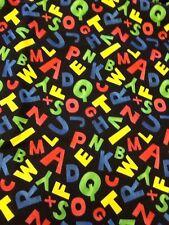 Colorful ABC Fabric Alphabet Black School Kindergarten 100% Cotton Quilt 2 Yds