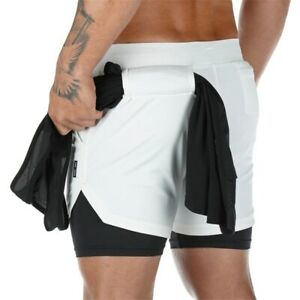 Men 2 In 1 GYM Sport Shorts Running Fitness Jogging Workout Sports Short Pants