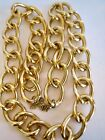 """Extra Large Yellow Gold Tone CHAIN LINK Runway Statement NECKLACE 30"""" plus EXT."""