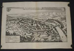 KEMPTEN IM ALGÄU GERMANY 1650 MERIAN UNUSUAL ANTIQUE COPPER ENGRAVED CITY VIEW