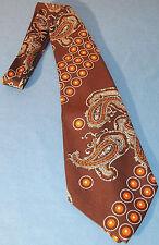 Cravate vintage ( 1973) marron à motifs rond orangé marque « chic »
