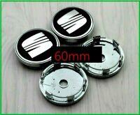 Seat Wheel Centre Cap 60mm silver / Black Set Of 4 Hub Caps Emblem Badge Logo