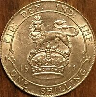 1911 GREAT BRITAIN SILVER SHILLING GEORGE V COIN - Fantastic example!