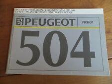 1992 unused Owners Manual Peugeot 504 V01 Pick-up, multilingual FR, D, IT, NL