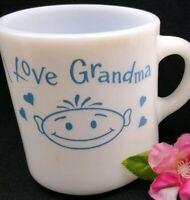 Vintage Milk Glass Mug I Love GRANDMA Blue White Cup