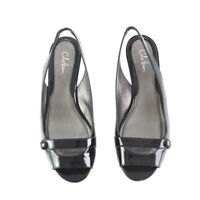 Cole Haan Black Patent Leather Slingback Sandals Low Heels Shoes Womens 8 B