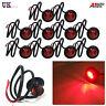 10 x 12v Perfil Redondo intermitente lateral 3 LED Rojo Luces Lámparas