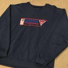 Vintage Guess Sport Crewneck Sweatshirt Striped Blue Rare Medium USA