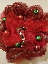 """Christmas Holiday Wreath 30"""" Red Green Mesh Netting Hanging Star Metal Bell Ball"""