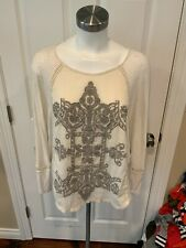 Meadow Rue Anthropologie Oatmeal Tan Floral Front Shirt, Size L